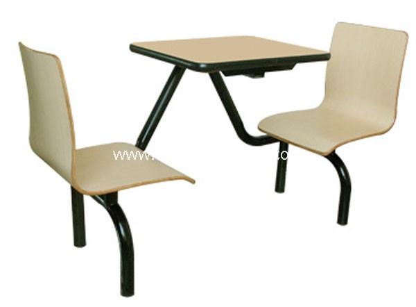 曲木连体快餐桌椅-T0316