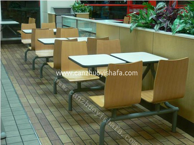 连体快餐桌椅-T0302